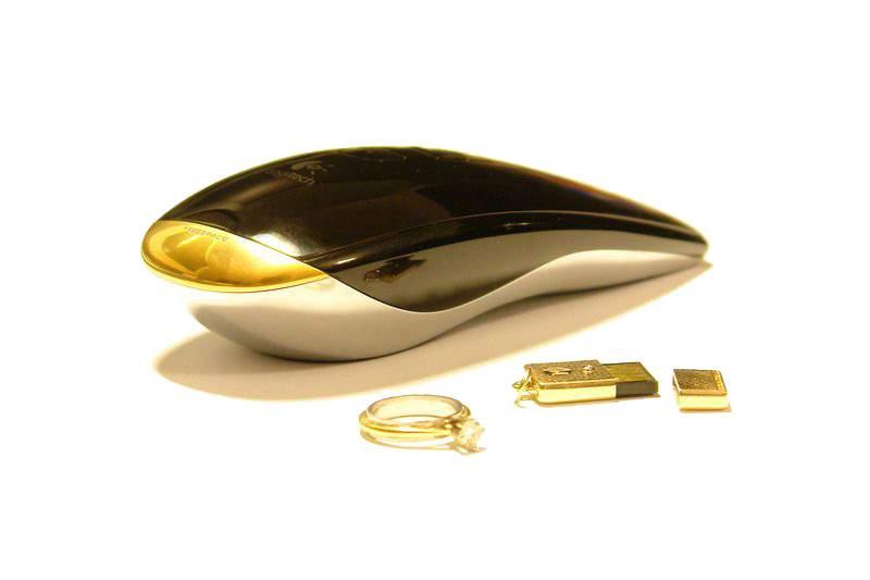 6b7134f2d1b Logitech Air 3D Laser Mouse in Gold Case mouse dengan harga paling mahal di  dunia