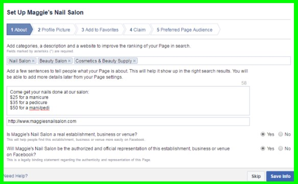 create a business facebook page free