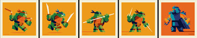 New York Comic Con 2018 Exclusive Teenage Mutant Ninja Turtles 4x4 Screen Print Set by Tom Whalen