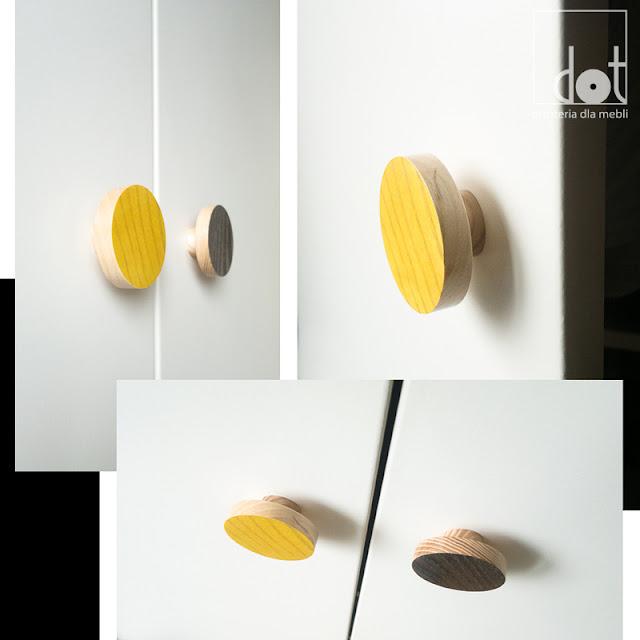 drewniane gałki kolorowe