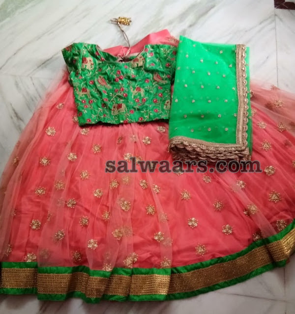 Peach and Green Half Saree