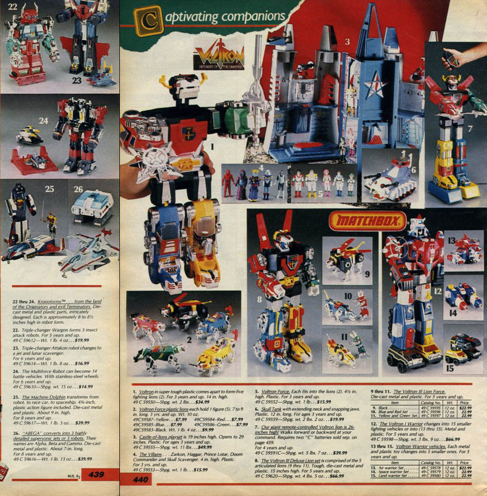 The Dork Review Voltron 1985 Sears Catalog Ad