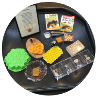 honey bees tuff tray with mini bees, raw honey, honeycomb, books and playdough