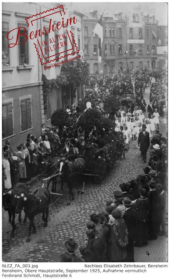 NLEZ_FA_003 Bensheim, Obere Hauptstraße, September 1925, Nachlass Elisabeth Zehnbauer, Stoll-Berberich 2016