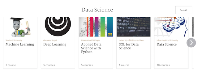 Data Science courses available on Coursera.org, thanks to the collaboration with CADS