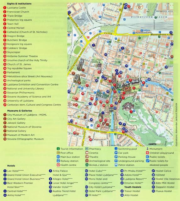 Mapa turístico de Liubliana – Eslovênia