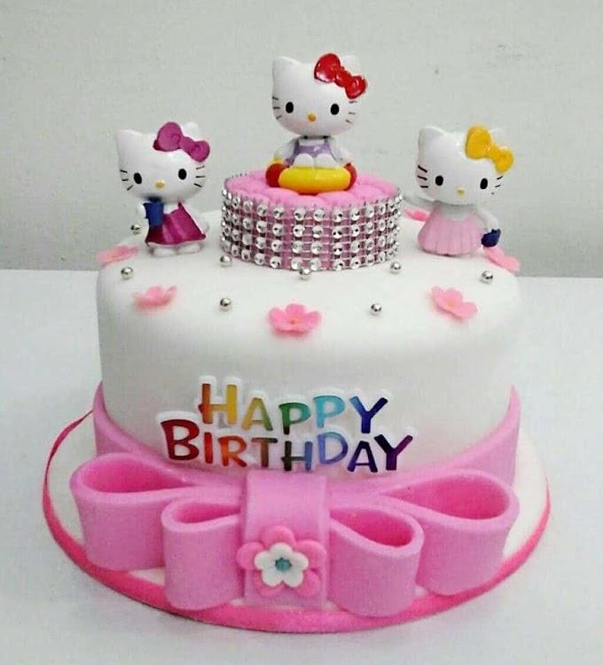 Dekorasi Kek Hari Jadi bertemakan Hello Kitty