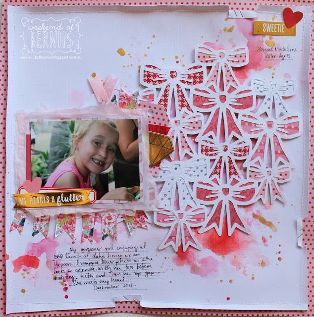 """My heart's a flutter"" layout by Bernii Miller for Scrapping Clearly and Neat N Crafts Cutz using We R memory keepers Crush collection."