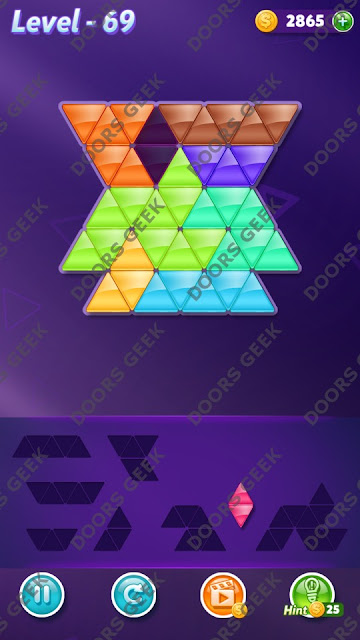 Block! Triangle Puzzle Expert Level 69 Solution, Cheats, Walkthrough for Android, iPhone, iPad and iPod
