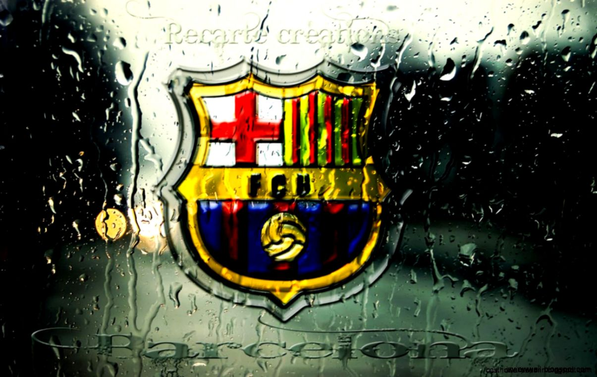 Fc Barcelona Logo Wallpaper Water Glass