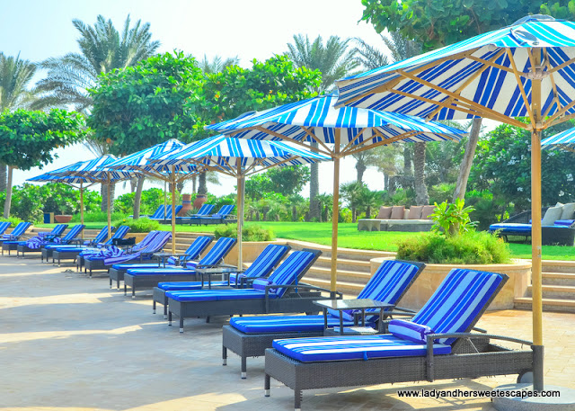 sun loungers in Sir Bani Yas Island
