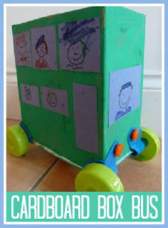 Cardboard box bus with Rolobox wheels