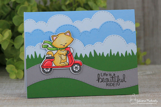 Die Cut Layered Cloudy Sky Background by Juliana Michaels featuring Newton's Nook Designs Sky Border Dies and Newton Scoots By Stamp Set