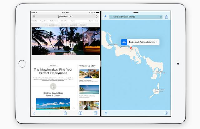Gambar tampilan Fitur Slide Over & Split View pada iPad iOS 9 terbaru