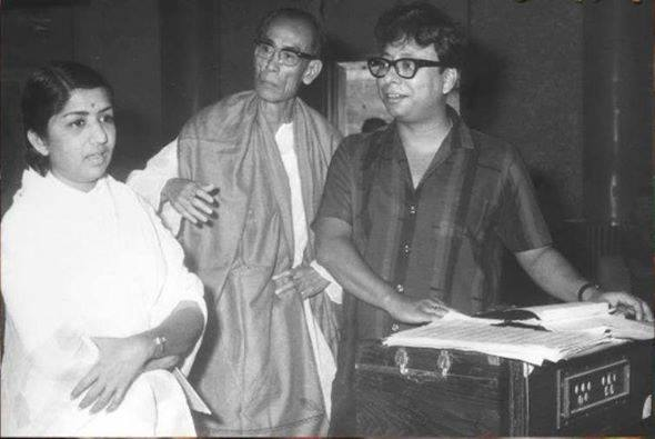 Lata Mangeshkar, S D Burman and R D Burman