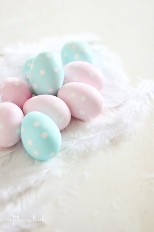 easy and pastel polka dot Easter eggs