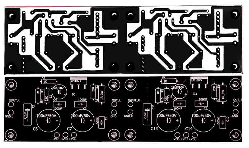 Stereo Gainclone Power Amplifier LM1875 - Electronic Circuit