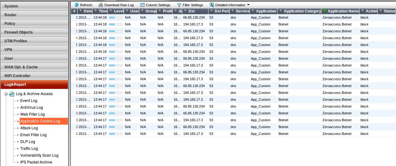Trying Avoid callbacks to a Botnet using Fortinet Fortigate