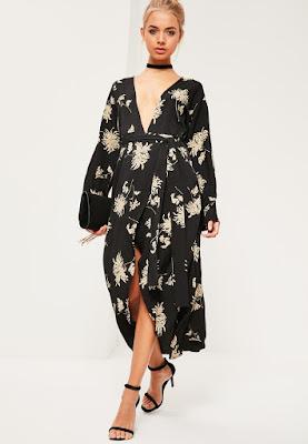 robe longue noire imprimé fleuri manches kimono