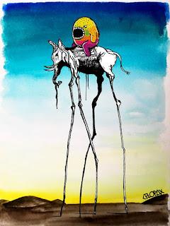 Foto de um grafite de Celopax. Em uma releitura de uma das obras de Dalí, O Elefante, Celopax apresenta o céu em dégradé do azul ao branco que mistura-se ao amarelo claro no horizonte finalizando ao solo marrom com algumas nuances brancas. Ao centro, o elefante surreal, patas bem longas e finas, que remete as patas de uma aranha, o elefante é preto e branco e está voltado à esquerda, tromba em forma de J com um objeto levemente sinuoso pendurado, dentes de marfim pontudos,  no lombo, um tapete e sentado sobre ele, o monstrinho de Celo, em forma oval com pernas e braços curtos, olho preto amendoado, bochecha verde, boca aberta e dentada em todo redor, o monstrinho, na parte superior é amarelo, central em laranja, e inferior em degradée do pink ao uva. Em toda superfície do monstrinho há pontinhos pretos. No canto inferior direito acompanhando o delineio de uma colina, a assinatura do autor em letras pretas: CELOPAX, sendo o C estilizado em forma do vetor menor.