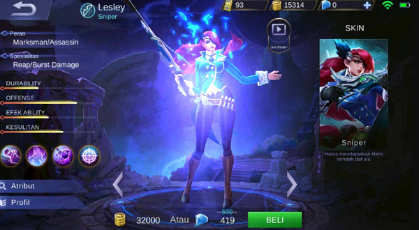 Hero Lesley Mobile Legends, Hero Terbaru Bertipe Sniper