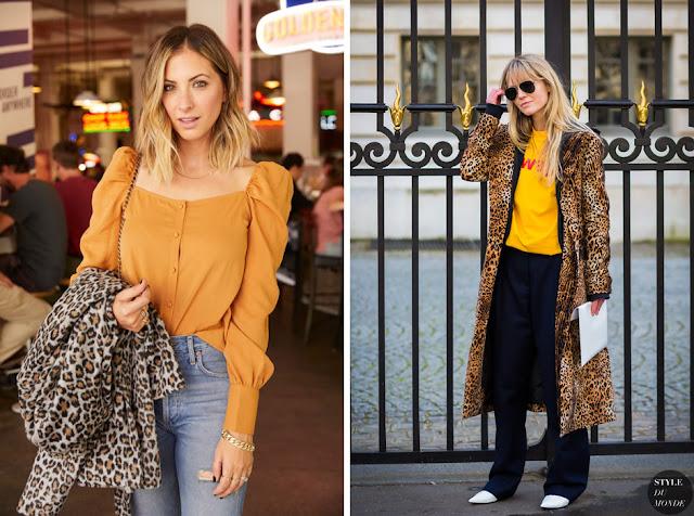 Леопардовое пальто с джинсами и желтым топом
