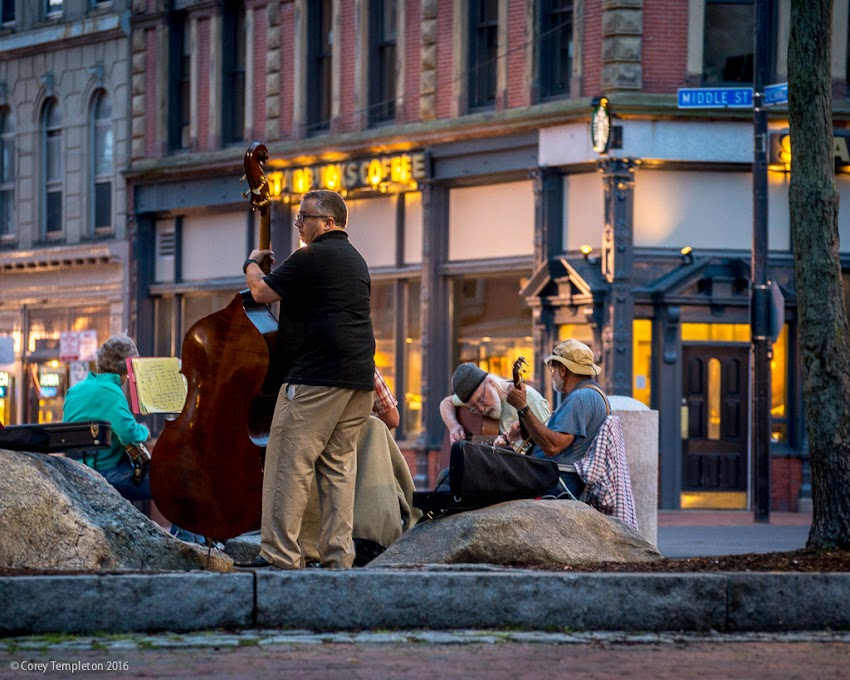 Portland, Maine USA June 2016 photo by Corey Templeton. A group of acoustic music-makers in Post Office Park in the Old Port.