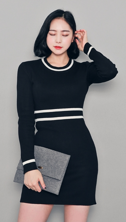 Striped Accents Sheath Silhouette Dress