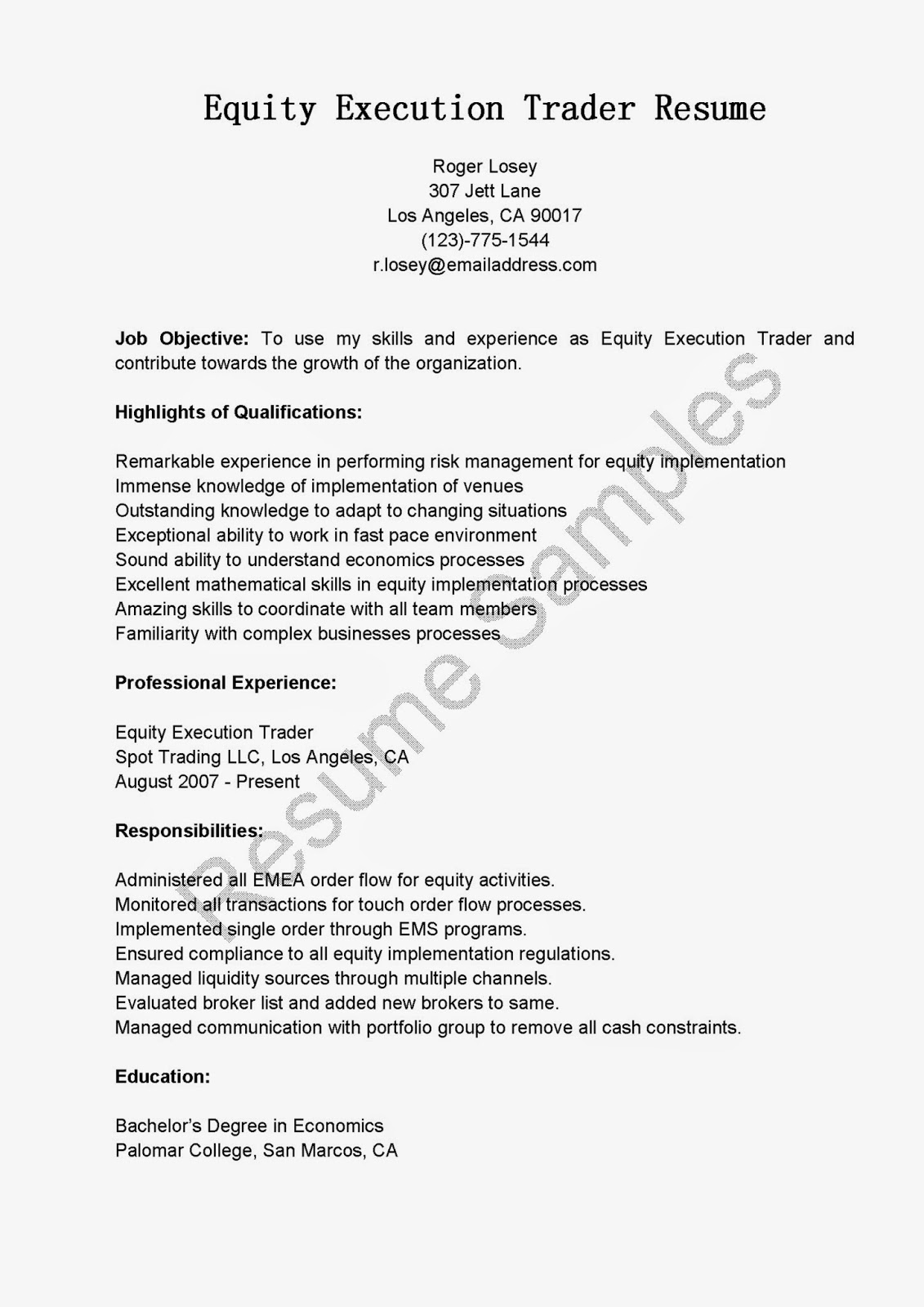 Forex trader cv sample