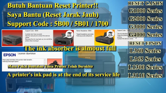 IpN ChAnNeL: RESET ALL Printer CANON G Series G1000, G2000 G3000