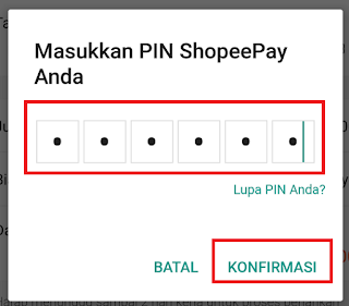 konfirmasi pin shopeepay