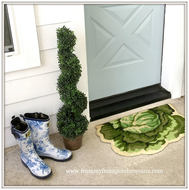 Farmhouse Back Porch-Toile Gardening Boots-Spiral Topiaries-From My Front Porch To Yours
