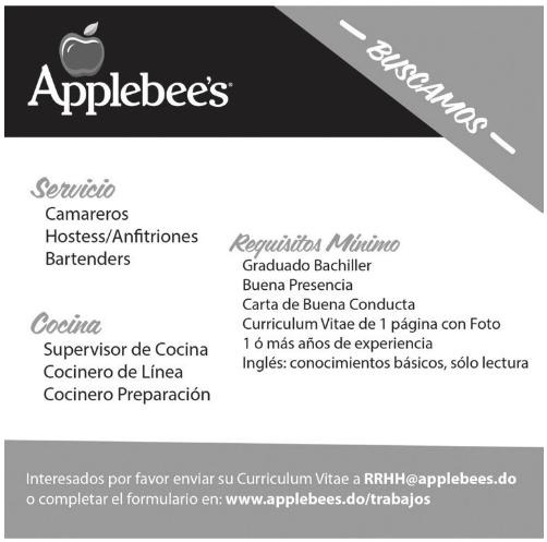 empleo applebee u00b4s tiene 6  vacantes para restaurante envia tu cv