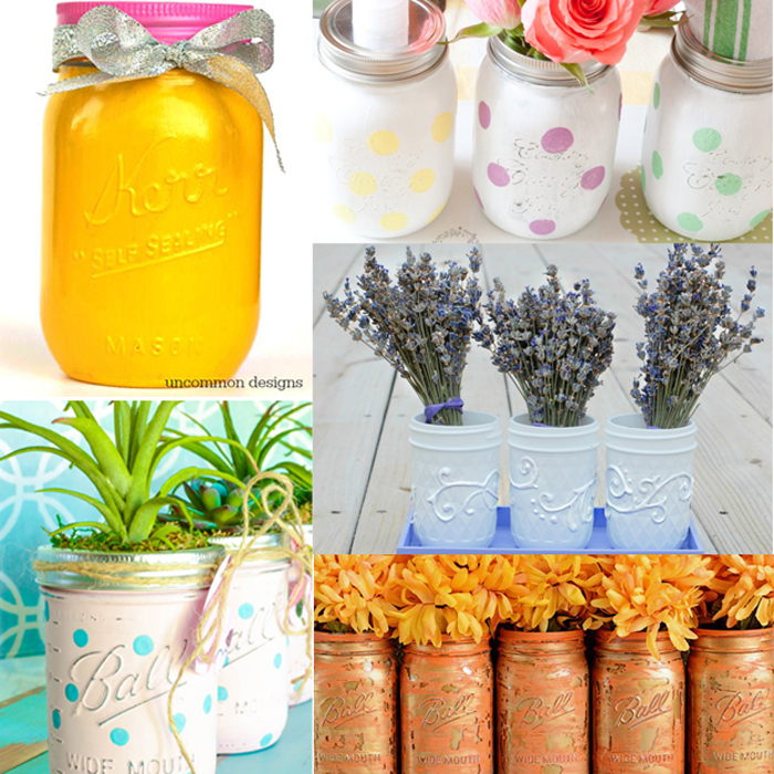Painted Mason Jar Crafts | Lots of budget-friendly ideas for painting everyone's favorite jar!