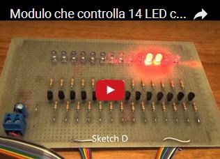 Modulo che controlla 14 LED con 6 sketch di esempio per Arduino UNO R3