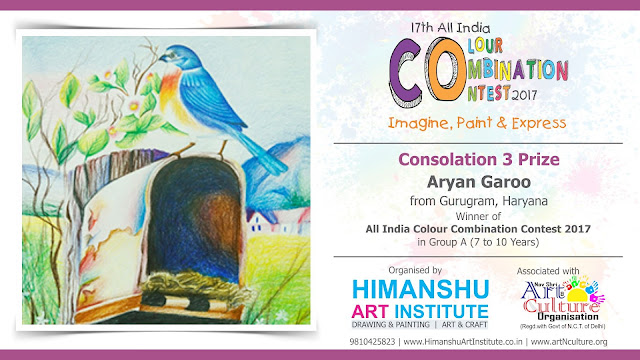 Consolation 3 Prize Winner Aryan Garoo from Gurugram, Haryana in All India National Level Painting Competition for Kids