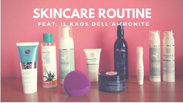 Ecco la mia skincare routine bio. Sono presentati prodotti per pelle mista.