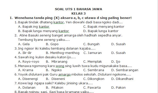 Download Soal Uts Bahasa Jawa Kelas 3 Semester 1 Koleksi Soal Sd