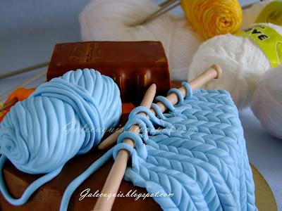 ovillo de lana en bizcobola y fondant