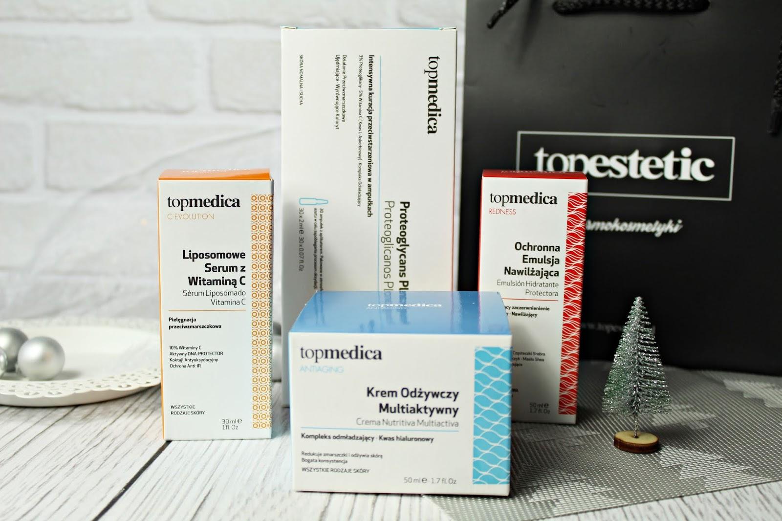 Dermokosmetyki topmedica - krem odżywczy multiaktywny, liposomowe serum z witaminą C, ochronna emulsja nawilżająca i intensywna pielęgnacja przeciwstarzeniowa w kapsułkach