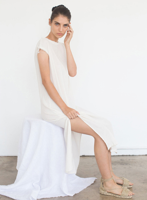 Cozy and airy white summer dress. EMMA DRESS IN CREAM by Black Crane