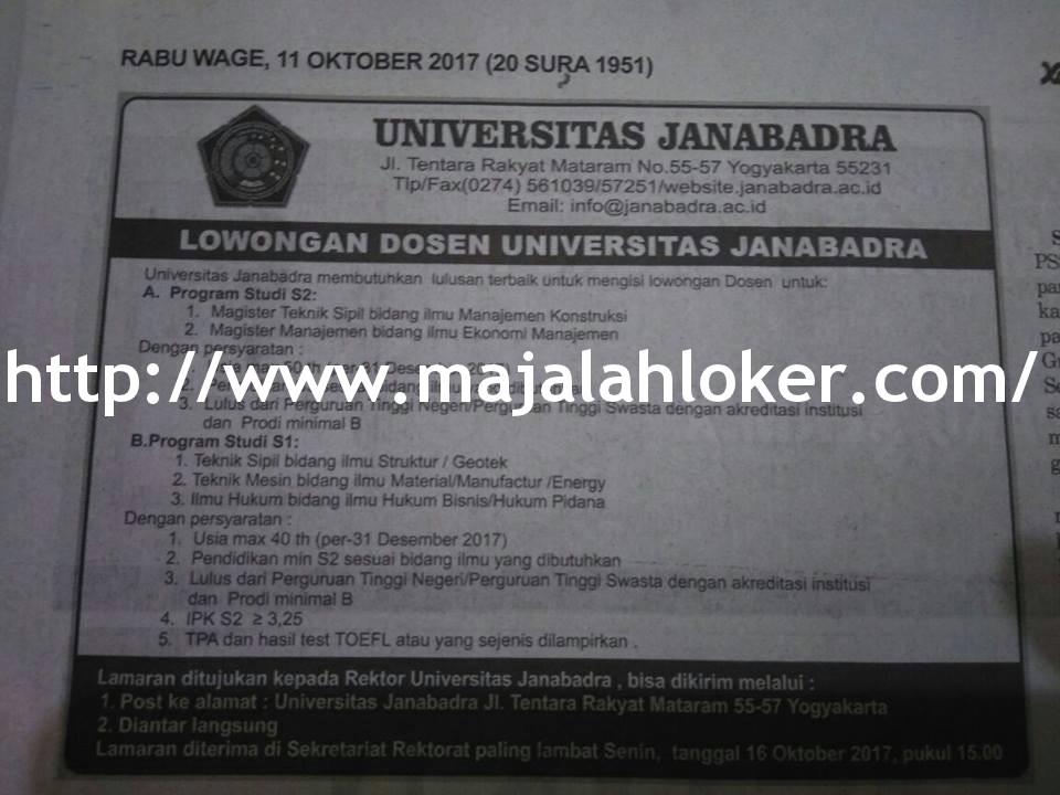 Lowongan Dosen Teknik Sipil, Manajemen, Ilmu Hukum Universitas Janabadra