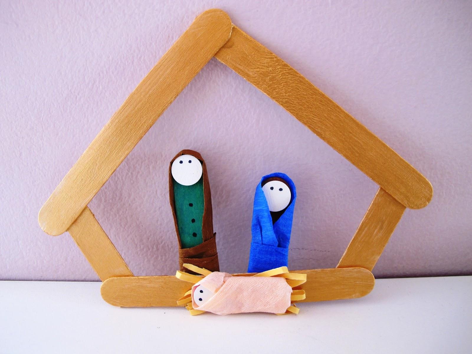 Angolino di liana lavoretto per bambini presepe con for Lavoretti con abbassalingua