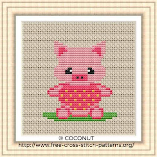 BABY PIG FREE AND EASY PRINTABLE CROSS STITCH PATTERN