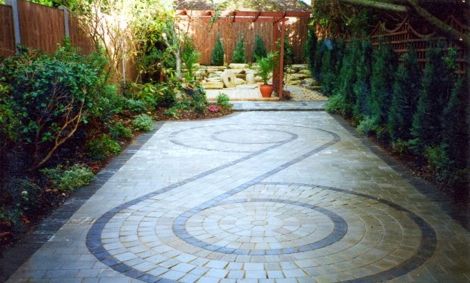 greek patterned patio