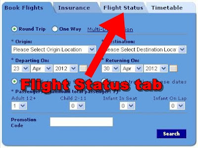 Philippine Airlines Flight Status tab