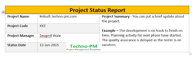 Project Status Report Template, project management status report template