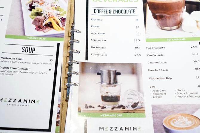 Daftar menu dan harga di Mezzanine Coffee and Eatery