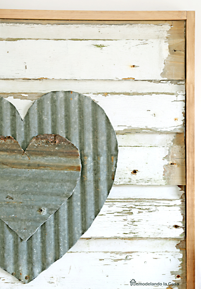 How to cut metal with Ryobi shears - Valentine's day wall art using tin and wooden siding