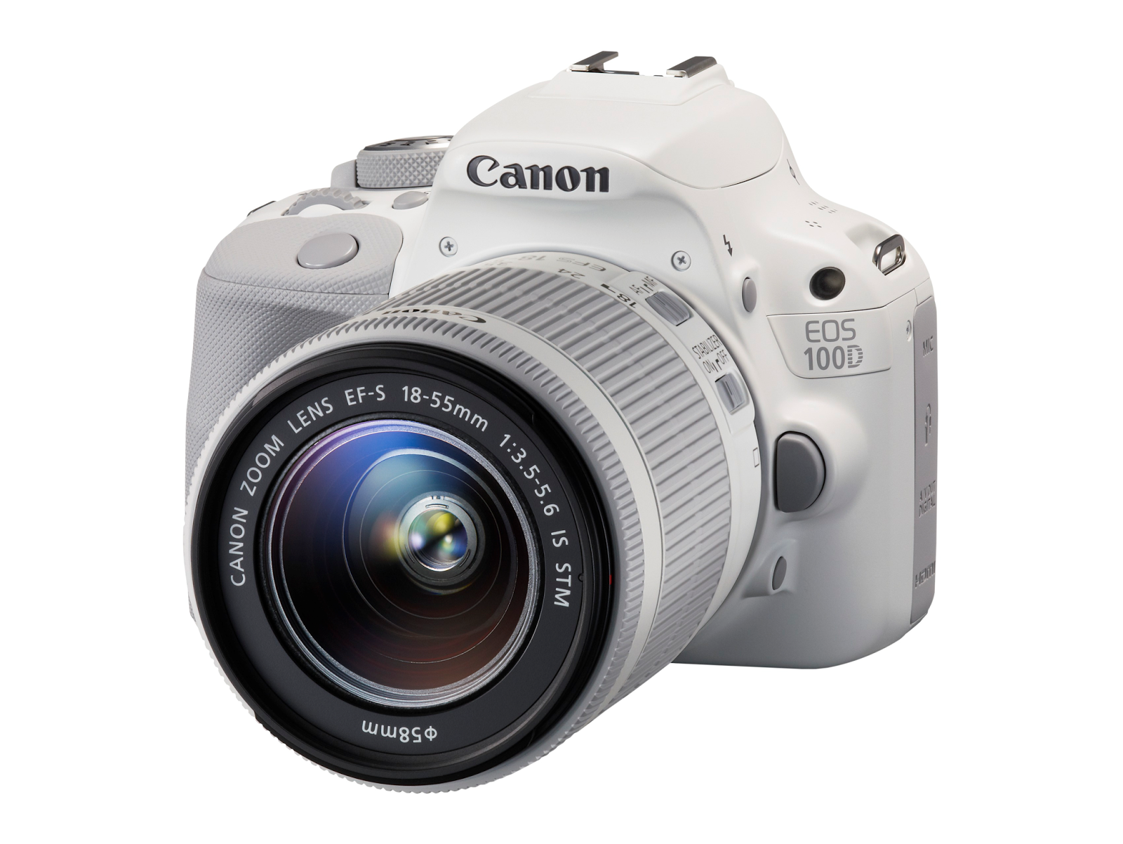 White Canon EOS Rebel SL1 Kit with EF-S 18-55mm f/3.5-5.6 IS STM Lens